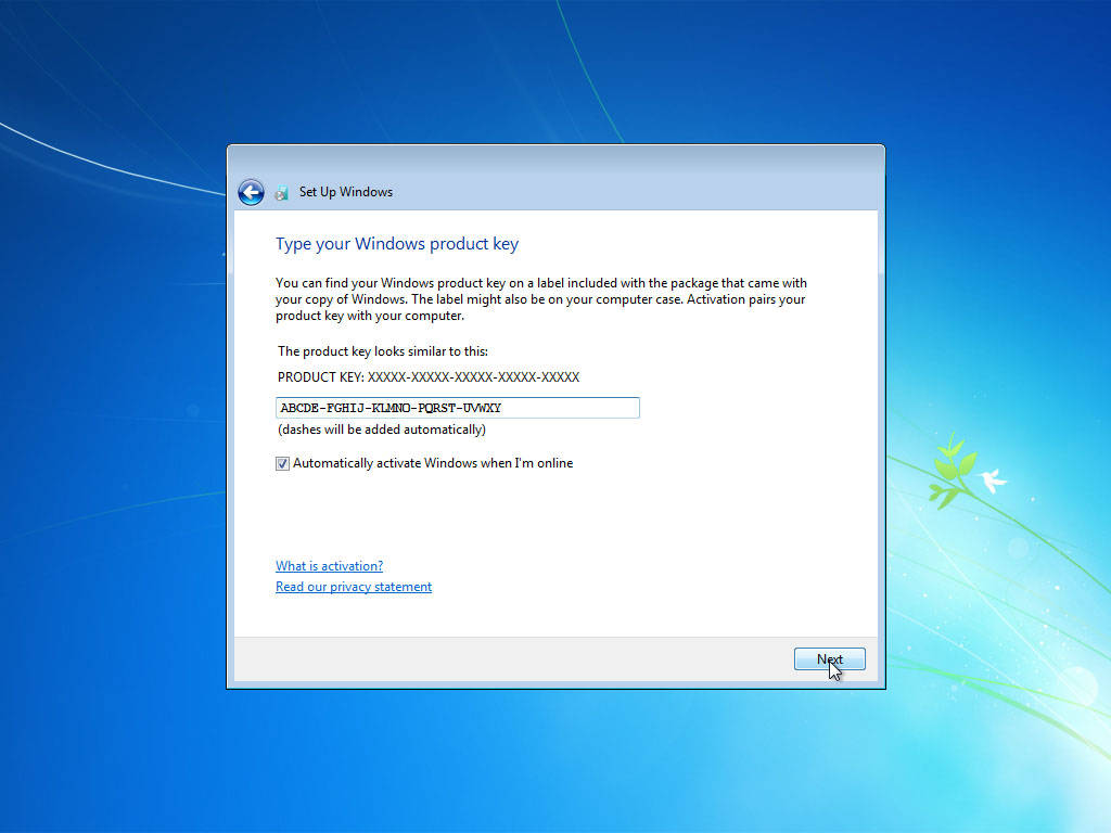 Windows 7 clean install for Windows 07 product key