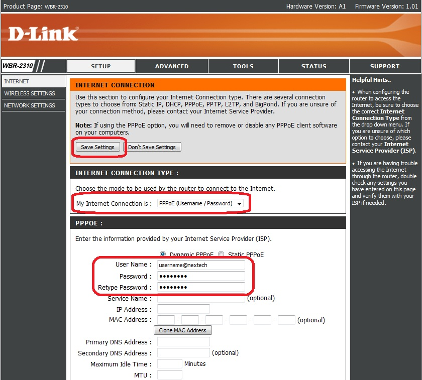 how to set up a dlink router password