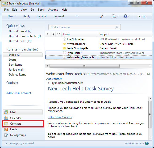 Windows Live Mail - Importing and Exporting Accounts